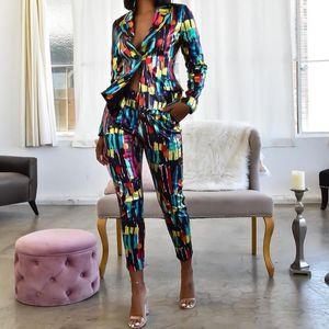 trajes de negocios Echoine coloridas Trajes de lentejuelas mujeres de las bragas chaqueta de la chaqueta Pantalón estilo tubo de 2 pedazos Oficina de Trabajo Combinaison femme