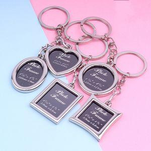 사진 프레임 커플 열쇠 고리 평방 창조적 성격 사진 열쇠 고리 사랑 열쇠 고리 기념 작은 선물