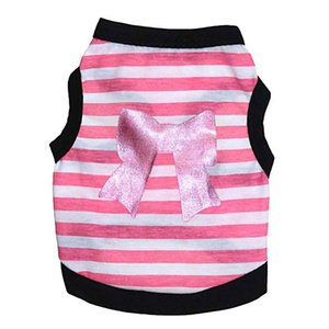 Bow Striped Dogs Spring Summer Pet Clothes For Small Cat Dog puppy Pet Dog Shirt Puppy Cat Vest Shirt