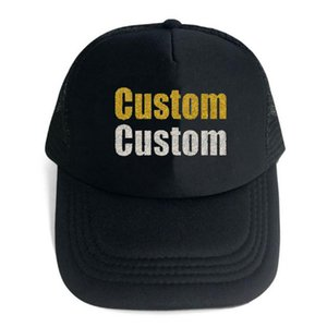 Custom Trucker Mesh Back Hat brodé votre propre texte incurvé Mesh Cap Femme Poudre Scintillante Chaud Estampage Équipe De Mariage Cérémonie Chapeau De Lettre