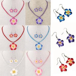 새로운 패션 하와이 Plumeria 꽃 보석 세트 폴리머 클레이 귀걸이 목걸이 펜던트