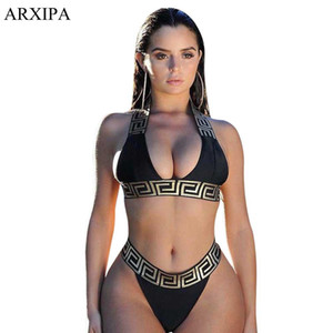 Arxipa Sexy Bikini Sets für Frauen Bandage Badeanzug Crop Top Swimwear Tanga Badeanzug High Cut Beachwear Solid Print 2019 New Bather