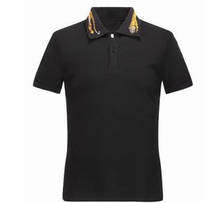 Printemps De Luxe Italie Tee T-Shirt Designer Polos Haute Rue Broderie Des Serpents Jarretelles Little Bee Impression Vêtements Marque Hommes Chemise Polo