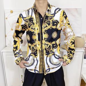 2020ss autumn and winter Harajuku Medusa Golden Chain Dog Rose Print Shirt Fashion Vintage Floral Sweater Men's Long Sleeve Top Shirt