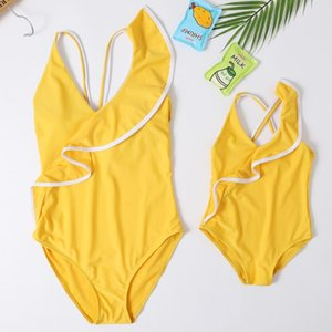 one Pieces Cute Bikini Family Matching Outfits Babay Kids Children Girl adult Swimwear Bathing Female Swimsuit for Girls