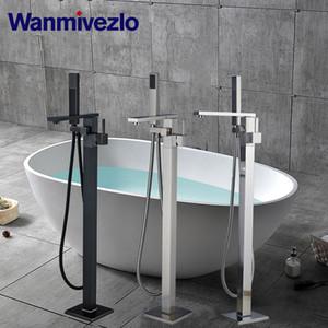 Torneira da banheira andar montado torneira da banheira Casa de banho Duche Mixer Tap água quente e fria com LED Bath Tap