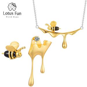 Лотос Fun Real 925 стерлингового серебра ручной работы Fine Jewelry золота 18K Пчелы и Капель Мёд комплект ювелирных изделий для женщин Подарок