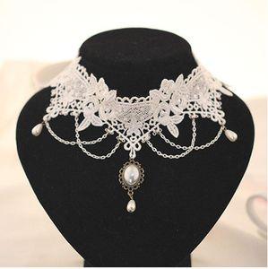 Готическая невеста невесты ювелирные изделия ретро Элегантный Имитация Жемчужное ожерелье ожерелье женщин оптовой белый шнурок Бесплатная доставка