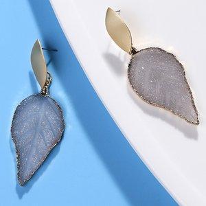 Jewelry & Accessories HOCOLE New Green Resin Stone Chandelier Drop Earrings For Women Bohe Fashion Gold Metal Sequin Pierce Leaf Earring