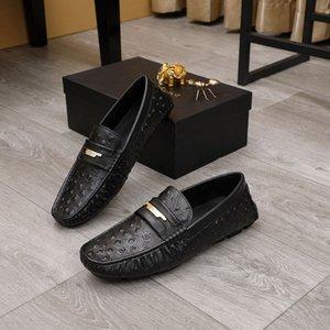 British New Designer Mens Black Casual Loafer Fashion Genuine Leather Slip On Leisure Shoes Man Lazy Flats For Driver Moccasin 38-45 LR01