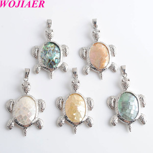 WOJIAER 5pcs lot New Zealand Natural Abalone Shell Oval Beads Turtle pendants Charms fit Necklaces jewelry making DBW903
