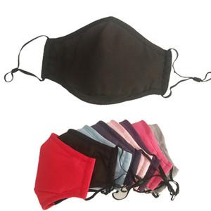 3 Camada colorida de pano de algodão à prova de poeira sólidos reutilizáveis equitação Anti-fog PM2.5 lavável Designer Máscara cobrir o rosto