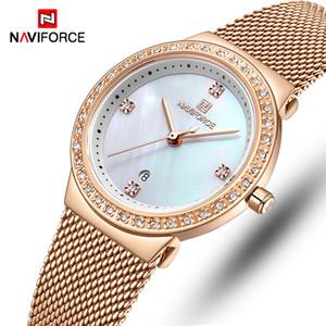 Reloj de las mujeres NAVIFORCE ocasionales de la manera señoras de los relojes de cuarzo resistente al agua reloj de pulsera de acero inoxidable chica Reloj Relogio Femenino