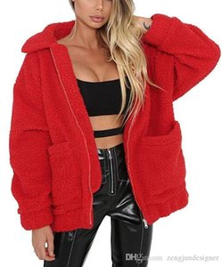 Winter Designer Coats Long Sleeve Solid Color Lapel Neck Zipper Female Outerwear Warm Style Casual Apparel Faux Fur Womens