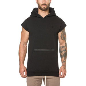 2019 gym new fashion popular Men's Sports Fitness Short-sleeved Guard Clothes and Caps Pure Cotton gym hoodies T-shirt