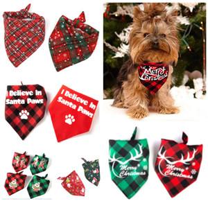 개 두건 크리스마스 클래식 격자 무늬 애완 동물 스카프 삼각형 턱받이 스카프 애완 동물 의상 액세서리 장식 개 고양이 애완 동물 XD22786