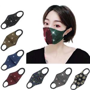 أزياء بلينغ بلينغ الراين مصمم قناع الوجه الفم غطاء قناع أقنعة واقية PM2.5 الغبار قابل للغسل إعادة استخدام مطاطا حلقة الأذن