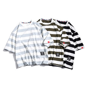 Cotton Loose Fit Short-Sleeved Men T-shirt Stripe Plus Size Summer Oversized T Shirt Mens O Neck Casual Male Tee Tops YT50272