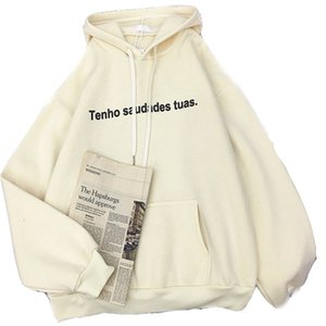 Zuolunouba 2020 Autumn And Winter New Casual Women Hoodie Plus Velvet Thick Loose Letter Cotton Liner Harajuku Ladies Pullover