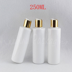 250ML White Flat Shoulder Plastic Bottle , 250CC Shampoo   Lotion Packaging Bottle , Empty Cosmetic Container