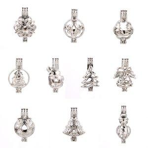 Aroma Esansiyel Yağı Yayıcı için Oyster Pearl Yapımı 10 Gümüş Noel stilleri İnci Kafes Locket kolye kolye Takı