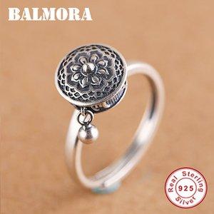 Balmora 100% réel en argent sterling Rotating Bagues de femmes Prière bouddhiste tibétain Roue Anneau OM Mantra Bague Lady Bands