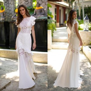 Milla Nova Mermaid abiti da sposa 2019 gioiello scollatura di pizzo Appliqued Sweep Train Boho Wedding Dress Plus Size Bohemian Bridal Gowns