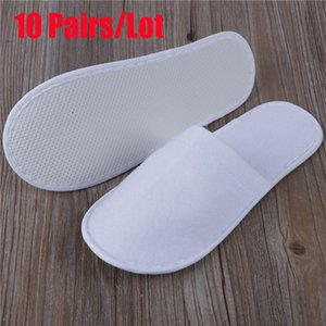 10pcs Lot Hotel Disposable Slippers Women Wholesale Non-woven Slippers Thick Travel Business Trip Airplane Break Slippers Shoes