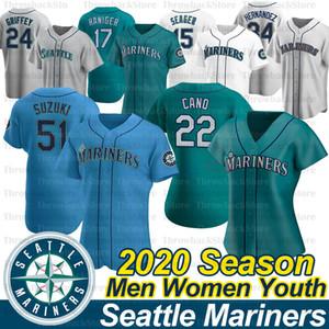 Seattle Ryon Healy Jersey 51 Ichiro Suzuki 17 Mitch Haniger Felix Hernandez Kyle Seager Lang Jr Omar Narvaez 2020 Jahreszeit-Baseball-Shirts
