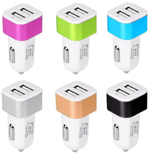 Aluminum Alloy Metal Car Charger 2.1A Dual Usb Ports Power Adapter For Samsung S8 S10 Note 8 10 htc android phone gps pc