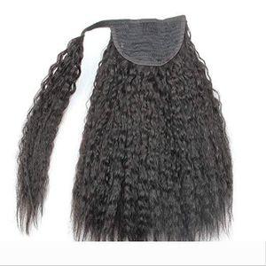 14inch Kinky Straight Human Hair Ponytail Extension Wrap Around 1b Kinkys Straight Clip in Yaki Coarse Human hair Ponytail Extensions