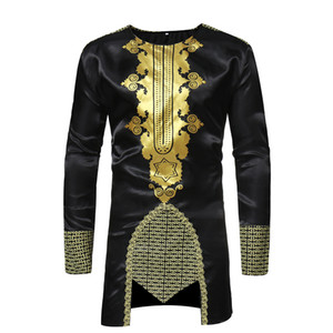 En gros Hommes Hipster Africain Imprimer Dashiki Robe Chemise New Ethnic Shirts Hommes Manches Longues O-cou Chemises Afrique Vêtements Camisa Taille M-3XL