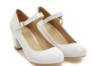 2019 женская обувь весной и осенью с новым стилем высокий каблук грубый каблук круглая голова@9016