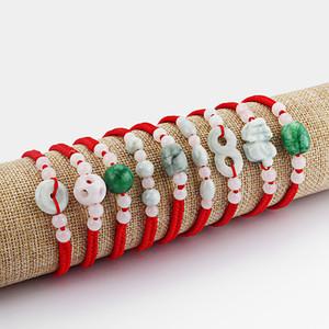 10pcs lot handmade charms lucky amulet nature stone pendant cotton cord adjustable bracelet life gift for men women fashion jewelry