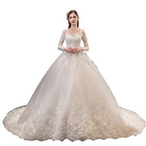2020 New Fashion Long Tail Tailored Beach Wedding Dress White Embroidered Bridal Gown O-Neck Ball Gown