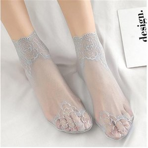 Short Socks Skinny Pure Color Ankle Length Floral Print Fashion Female Clothing Womens Breathable Underwear Lace