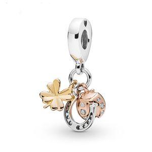 925 Sterling Silver Rose brilho prata Horseshoe Clover Joaninha encanto Bead Pendant Fit Original Colar Pulseira charme Pandora