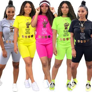 Esporte mulheres negras vidas matter letra dois pedaço conjunto t-shirt shorts bocador calças terno conjunto de combinação conjunto