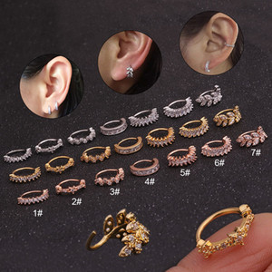Chegada Nova Cz Hoop Cartilagem Brinco Helix Tragus Daith Conch Rook Snug Ear Piercing Jóias