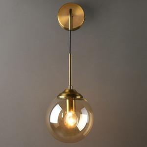Nordic Light Luxury Glass Lamparas de pared Post Modern Living Room Decoration Wall Light Dormitorio minimalista Lámpara de noche Escaleras Pasillo iluminación