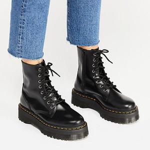 Черные лакированные ботильоны для женщин Узелка платформы Мартин сапоги зима женщин Теплых Плюшевых женщин сапоги Street Style обуви