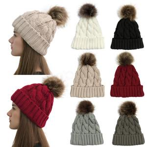 Das mulheres de malha de-cavalo chapéu Meninas Aqueça Pom Pom Gorros destacável Fur Lã bola Chapéu do crânio Ladies Beanie Ski Crochet externas Caps LJJA3695-13