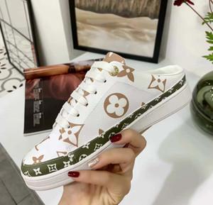 Sapatos de grife Chinelos Mais novo mulheres superstars Imprimir couro real Metade chinelo Clássico sapatos casuais de alta qualidade com 35-41 com caixa L6