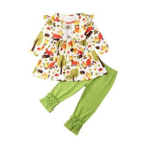 Nouveau-né Tout-petit bébé manches longues Hauts Pantalons Leggings Tenues Vêtements Set 3FS