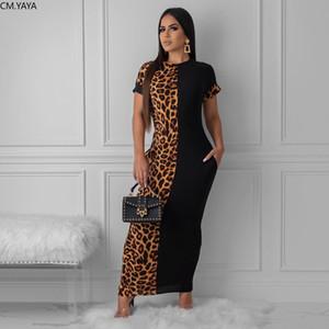 осень лето женщин Мода Leopard печати Maxi-футляр длиной платья сексуальный клуб платья партии vestidos плюс размер GLLD8600