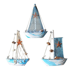 3pieces Mediterraneo Legno nautico Craft tavolo Fish Net Sailing ornamento di arte