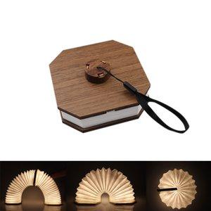 BRELONG الإبداعية LED المحمولة الخفيفة ليلة طوي فليب الكتاب الضوء شحن خشبي الجهاز ضوء دوبونت ورقة المحيطة مصباح