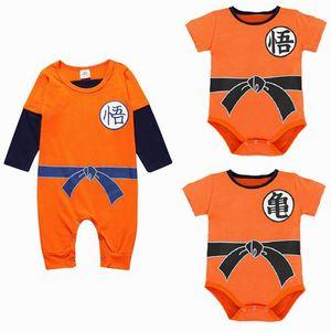 Mais novo Dragon Ball Macacão de Bebê Primavera Verão Filho Goku Roupas de Bebê Menino Recém-nascido Meninas Macacão Infantil Criança Roupas Terno Do Corpo J190523