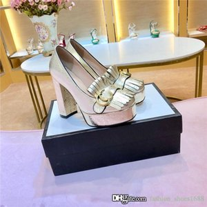 elegant metallic laminate leather platform pump with fringe women high heel pump with buckle Size 35-41,heel-height 11 cm with box