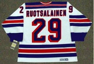 Пользовательские мужчины молодежь женщины Vintage #29 REIJO RUOTSALAINEN New York Rangers 1984 CCM хоккейная Майка размер S-5XL или обычай любое имя или номер